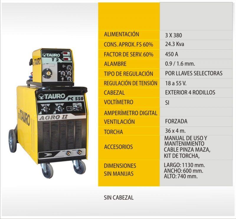 Soldadora semiautomáica PC-550 T2-4 AGRO
